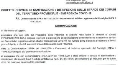 Emergenza Covid-19, Intervento di Sanificazione del Territorio comunale di Gesualdo