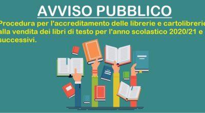 AVVISO PUBBLICO per l'accreditamento delle librerie e cartolibrerie per la fornitura dei libri di testo ANNO SCOLASTICO 2020/2021 e successivi