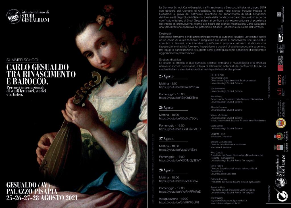 SUMMER SCHOOL 2021, CARLO GESUALDO TRA RINASCIMENTO E BAROCCO. Palazzo Pisapia 25/28 Agosto 2021