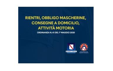 Ordinanza Regionale n. 41 del 01/05/2020.
