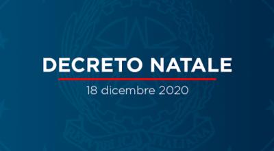 D.L. 172/2020 (DECRETO NATALE). Misure urgenti per le festività natalizie e di inizio anno nuovo